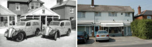 Hordle Radio & Electrical's shop in Ashley Lane, with ex-GPO vans in front, in the 1950s. The builings were demolished in November 2003 - courtesy http://www.newmilton.org.uk