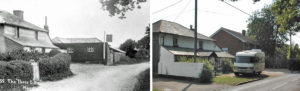 The old Three Bells public house in the early 1900s (left). The same spot in 2003 (right) - courtesy http://www.newmilton.org.uk